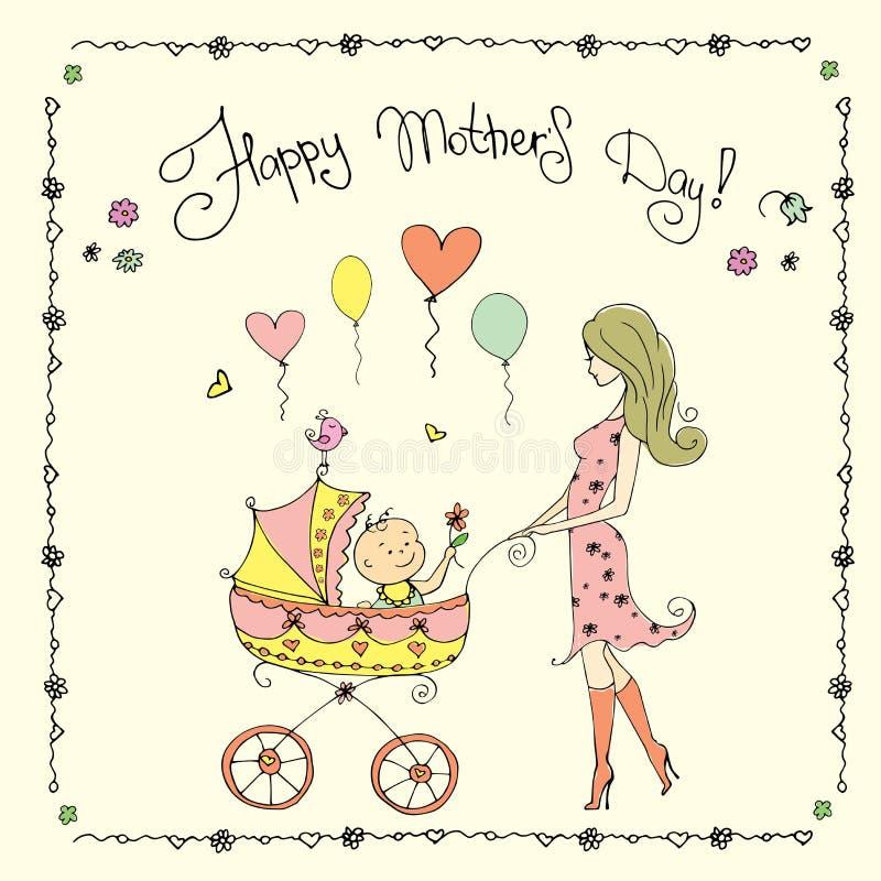 Matka z dzieckiem w spacerowiczu, Szczęśliwa Macierzysta ` s dnia karta royalty ilustracja