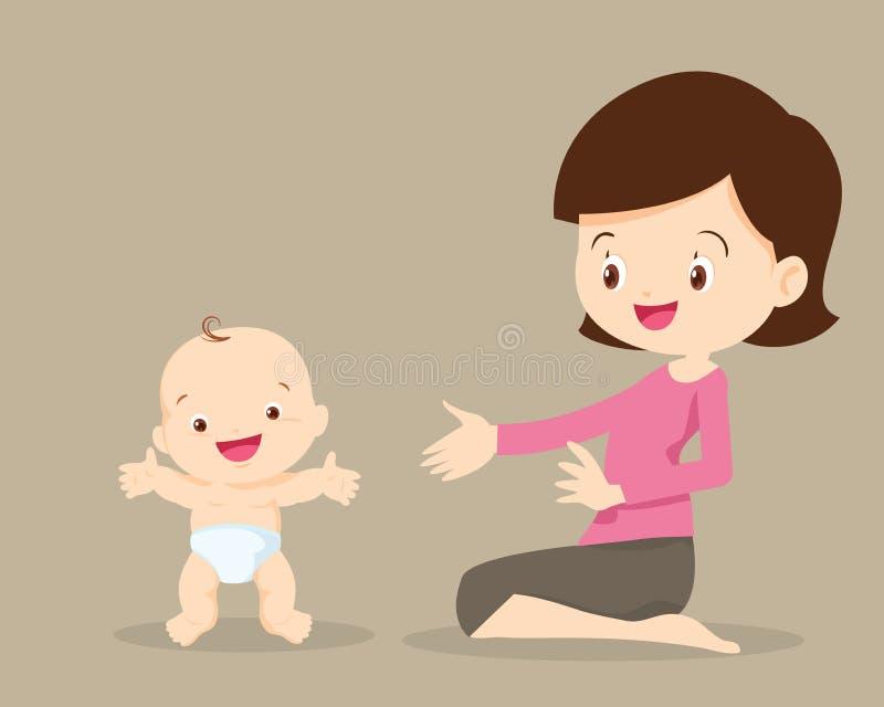 Matka z dziecko berbecia pozycją ilustracja wektor