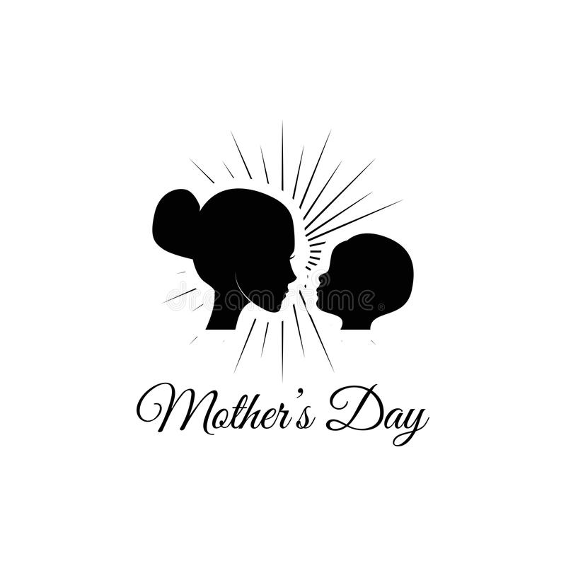 Matka z jej dziecko sylwetką Macierzysty s dnia kartka z pozdrowieniami również zwrócić corel ilustracji wektora royalty ilustracja