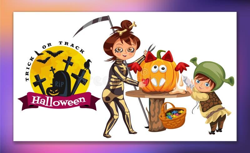 Matka z synem rzeźbi Halloweenowego dyniowego plakat Kreskówki małe dziecko i święcimy kostiumy śmierć i ilustracji