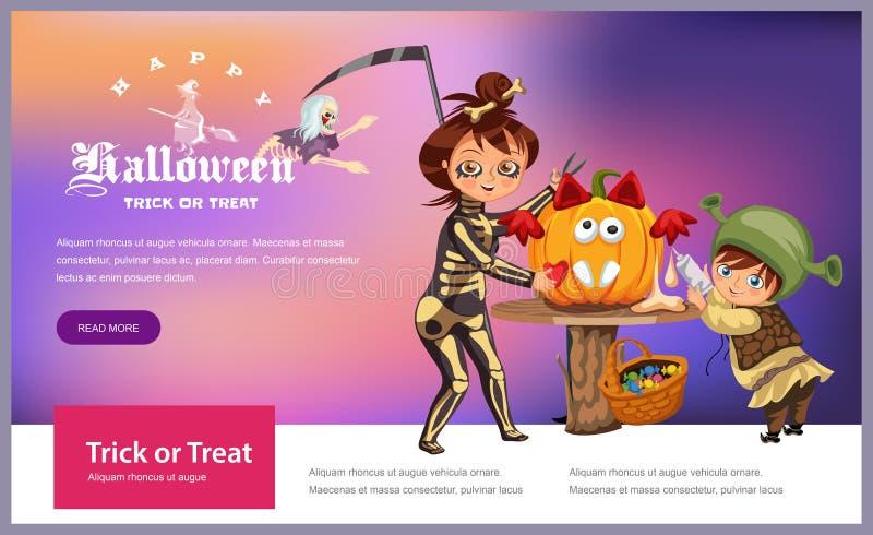 Matka z synem rzeźbi Halloweenowego dyniowego plakat Kreskówki małe dziecko i święcimy kostiumy śmierć i ilustracja wektor