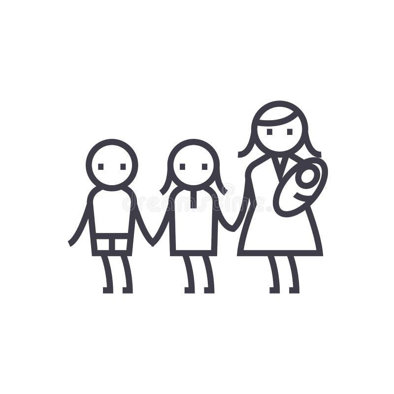 Matka z trzy dziećmi, macierzyńskimi, macierzyństwo wektoru linii ikona, znak, ilustracja na tle, editable uderzenia ilustracja wektor
