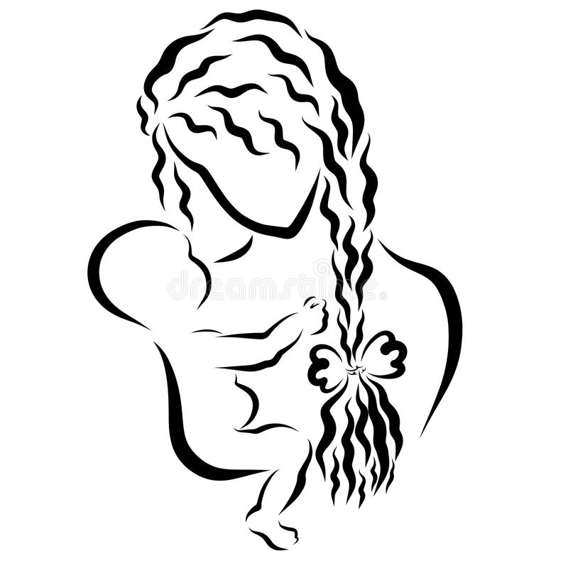 Matki delikatnie młodzi spojrzenia przy jej małym dzieckiem ilustracji