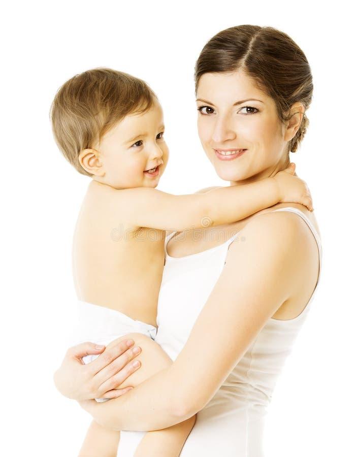 Matki I berbecia dzieciak, kobiety mienia dziecko, Biały fotografia royalty free