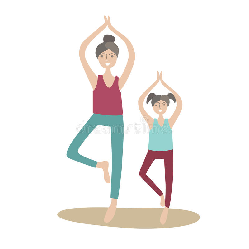 Matki i córki ćwiczy joga stoi na jeden nodze Rodzinni sporty i fizyczna aktywność z dziećmi, łączny aktywny ilustracji