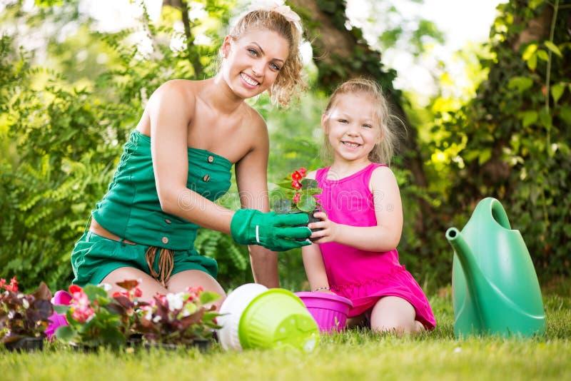 Matki i córki flancowania kwiaty wpólnie zdjęcie royalty free