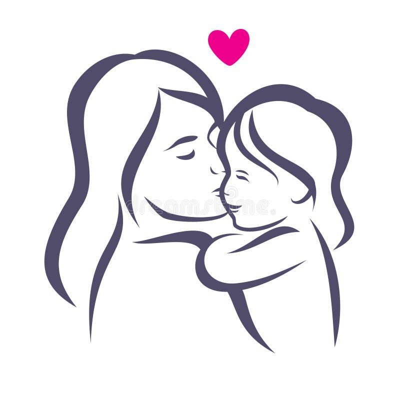 Matki i córki stylizowana wektorowa sylwetka ilustracja wektor