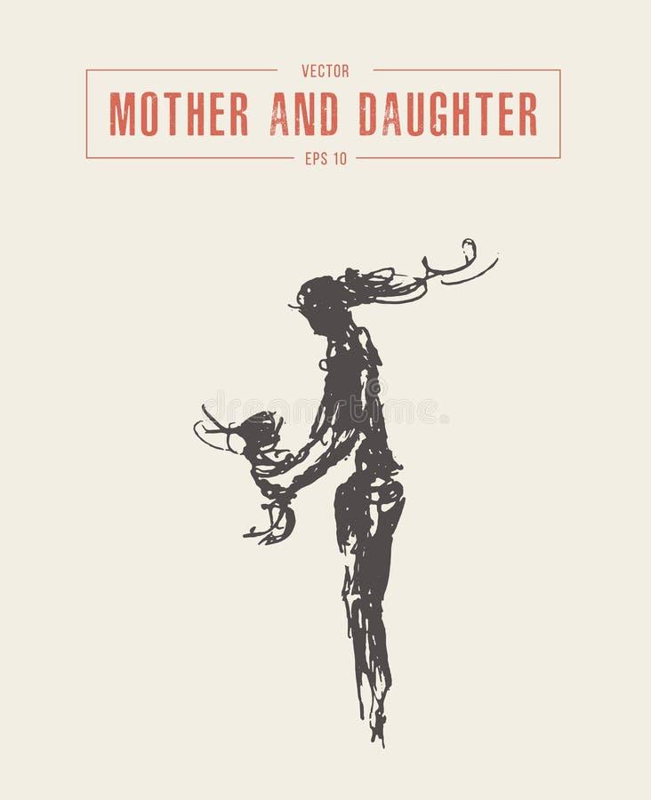 Matki i córki sylwetka rysujący wektorowy nakreślenie royalty ilustracja