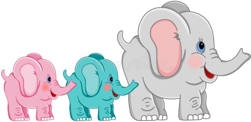 Matki i dzieci słonie ilustracji