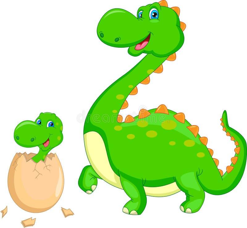 Matki i dziecka dinosaura kluć się ilustracja wektor