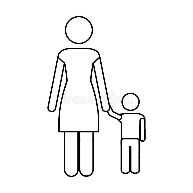 Matki i dziecka piktograma ikony wizerunek ilustracji