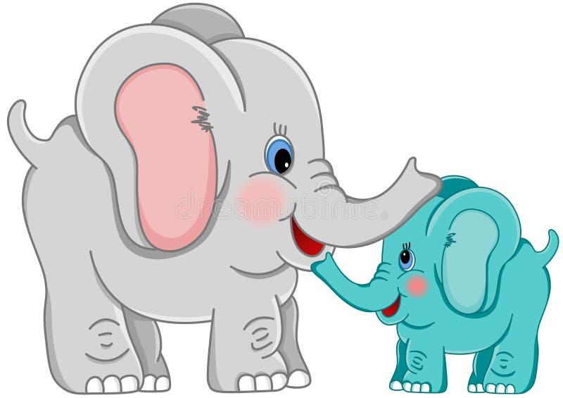 Matki i dziecka słoń ilustracji