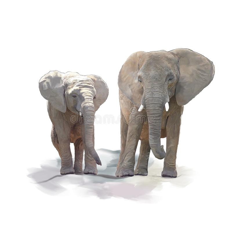 Matki i dziecka słoni akwarela ilustracja wektor