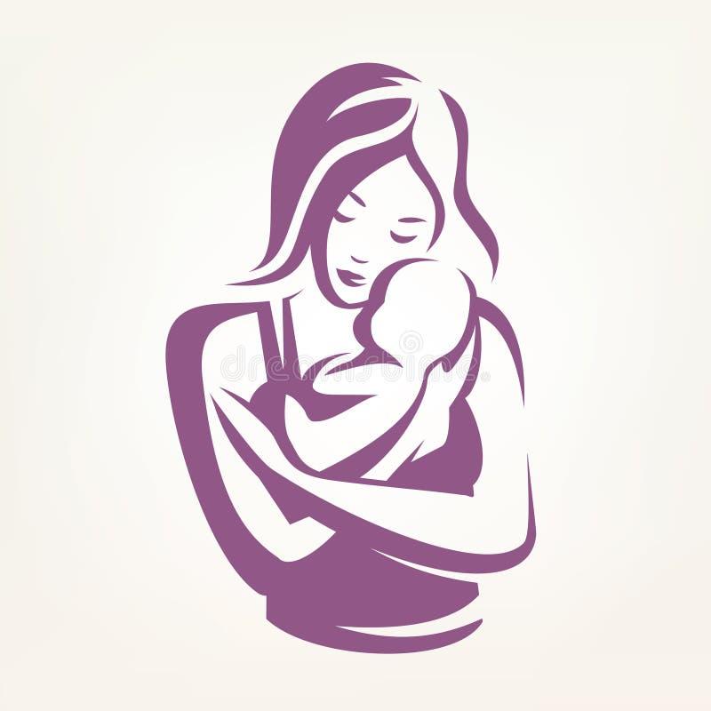 Matki i dziecka stylizowany wektorowy symbol ilustracji