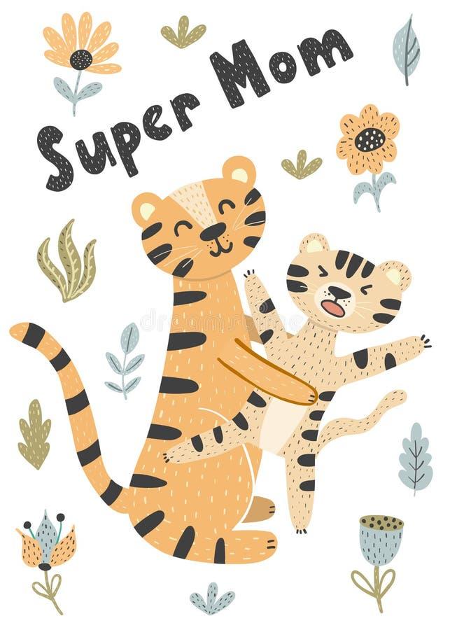 Matki i dziecka tygrysów wektoru śliczna ilustracja ilustracja wektor