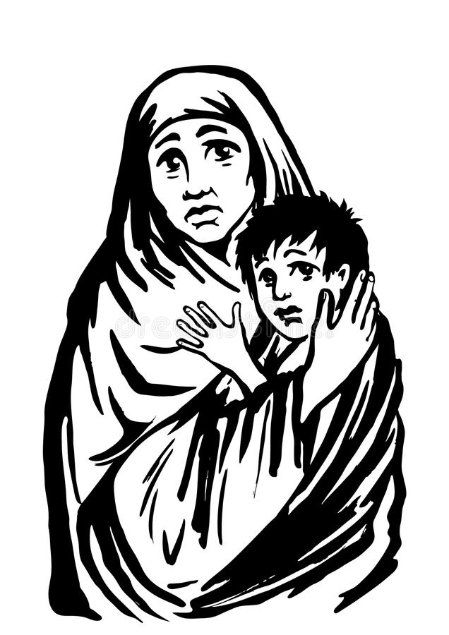 Matki i dziecka uchodźcy imigracyjna religia i socjalny ilustracja royalty ilustracja