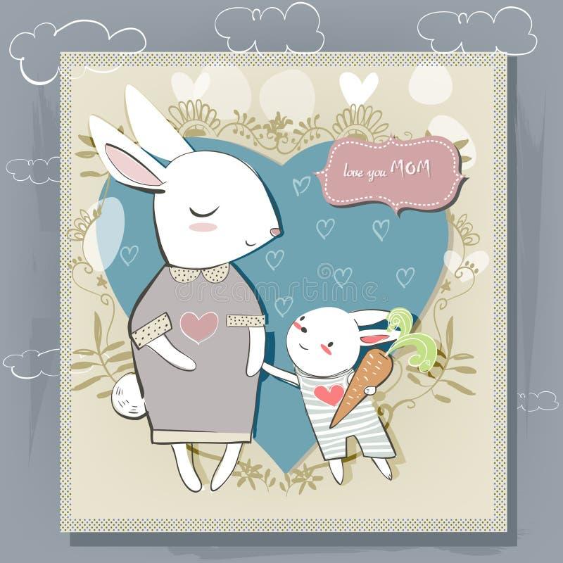 Matki i małego dziecka zajęcza wektorowa pocztówka dla matka dnia ilustracja wektor