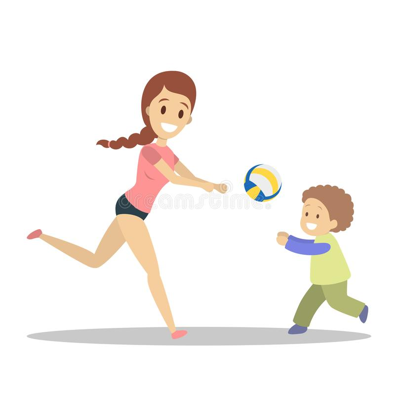 Matki i syna sztuki siatkówka Rodzinny robi sport ilustracja wektor