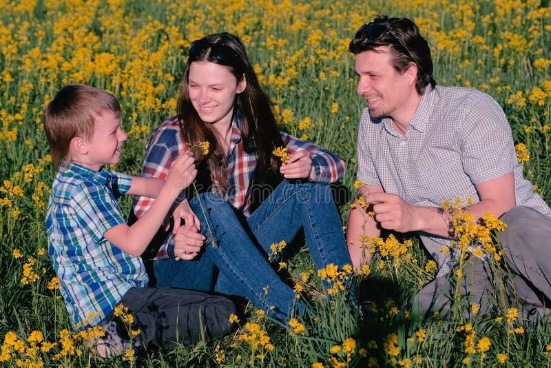 Matki, ojca i syna sztuka z kolorów żółtych kwiatami, siedzi w trawie idź rodziny zdjęcie royalty free