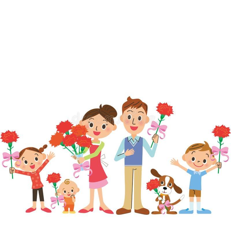 Matki rodzina i dzień ilustracja wektor