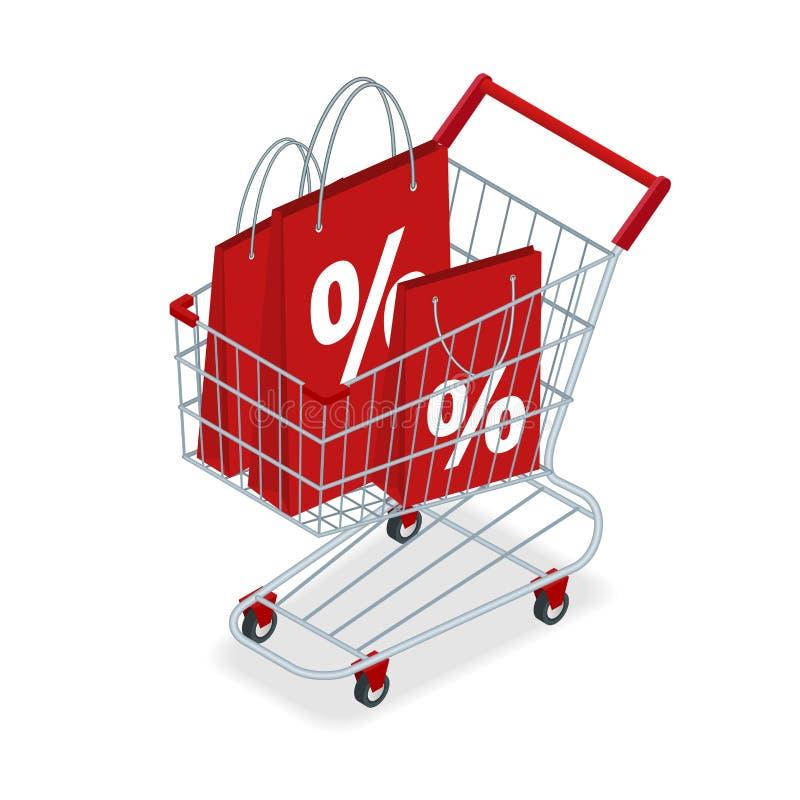 MatkorgRABATT eller shoppingvagn med gåvor och rabatter Shoppingspårvagn med den stora högen av den färgrika slågna in gåvan stock illustrationer