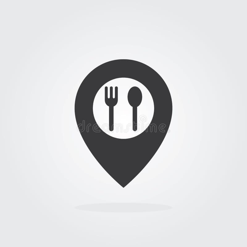Matlägepekare med sked- och gaffelsymbolvektorn Kartlägga pekaresymbolen för mat, kocken, lunch, matställen, menytecken stock illustrationer
