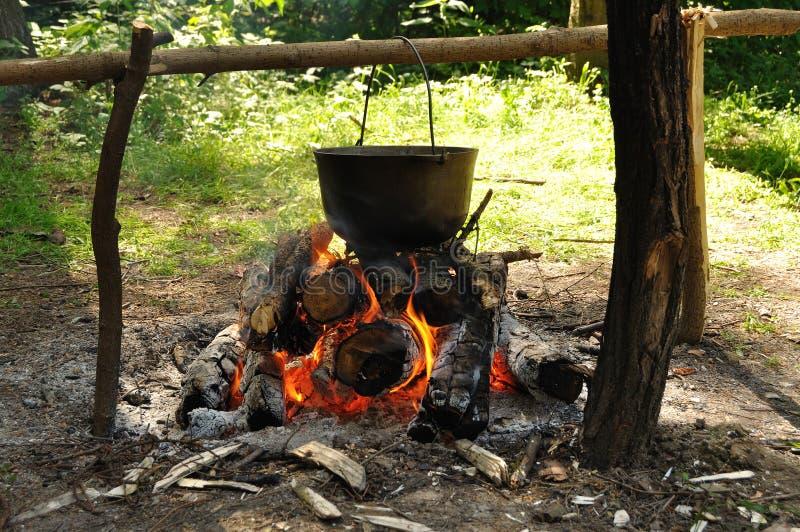 Matlagning i naturen Kittel på brand i skog arkivbilder