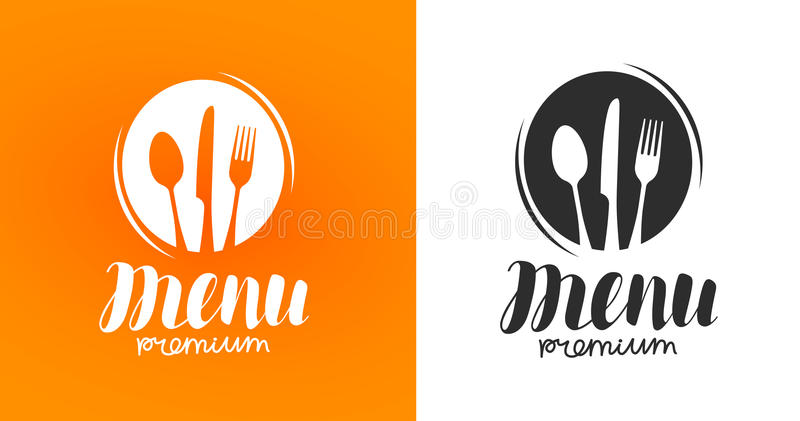 Matlagning kokkonstlogo Symbol och etikett för designmenyrestaurang eller kafé Bokstäver kalligrafivektorillustration vektor illustrationer