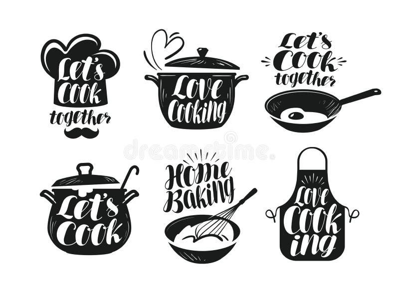 Matlagning matlagning, kokkonstetikettuppsättning Kock, kock, köksgerådsymbol eller logo Handskriven bokstäver, kalligrafi royaltyfri illustrationer