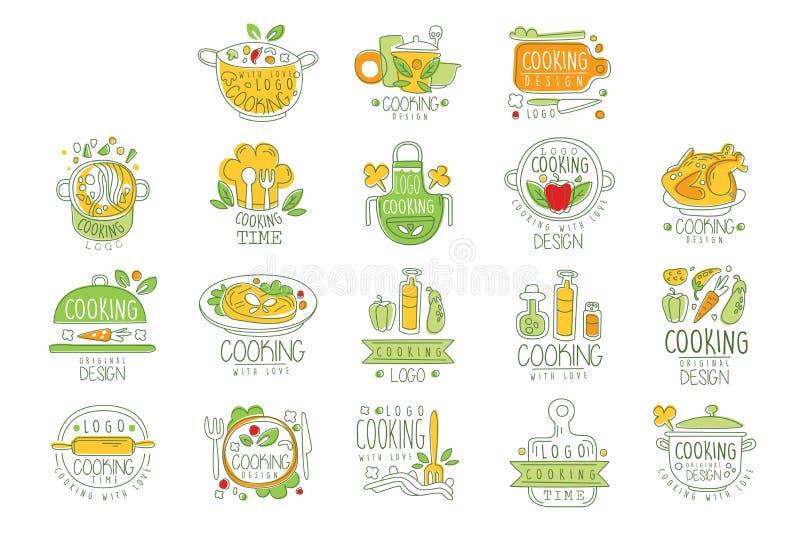 Matlagning med original- design för förälskelselogo, emblem för restaurang eller hem- dragen vektorillustration för kök hand royaltyfri illustrationer