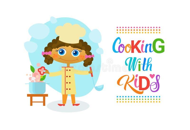Matlagning med utveckling för hobby för grupper för ungebarn kulinarisk royaltyfri illustrationer