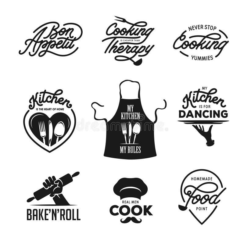 Matlagning och kök släkt citationsteckenuppsättning Affischdesignbeståndsdelar Tappningvektorillustration stock illustrationer