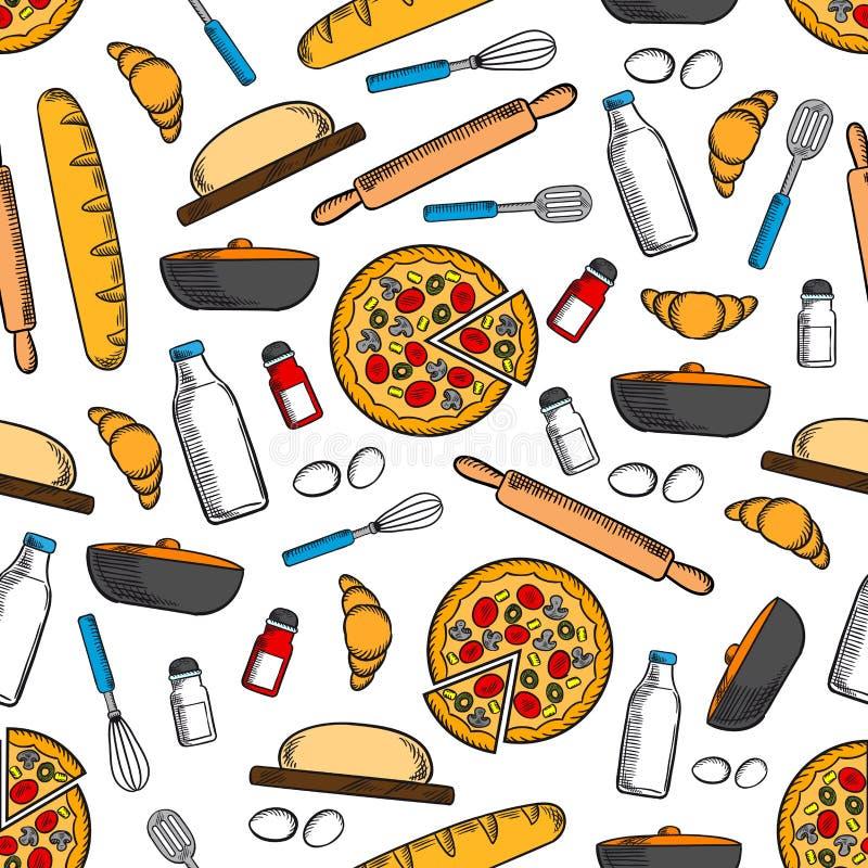 Matlagning och sömlös bakgrund för köksgeråd royaltyfri illustrationer
