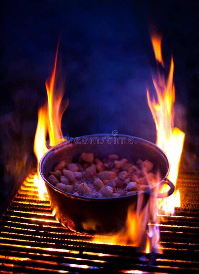 Matlagning späcker på galler royaltyfria foton