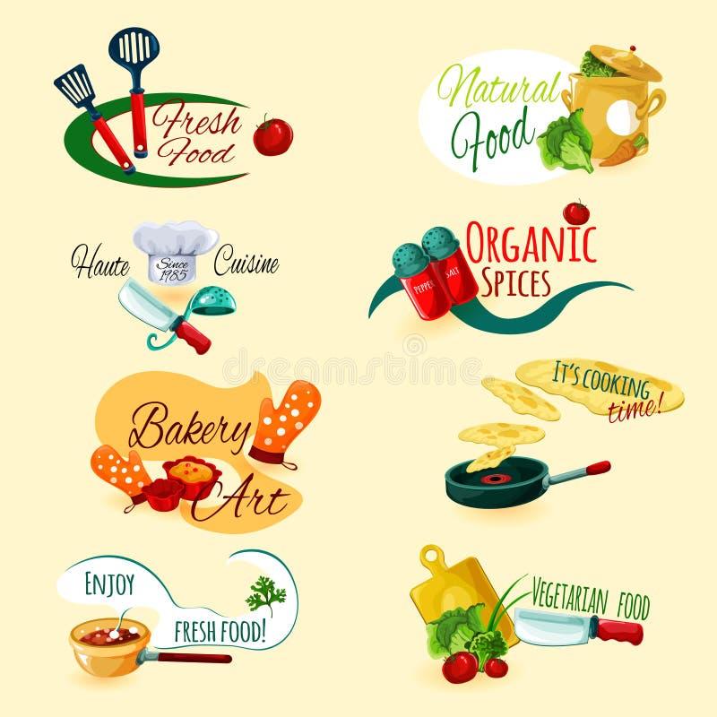 Matlagningemblemuppsättning royaltyfri illustrationer