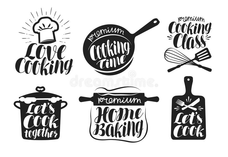 Matlagningetikettuppsättning Kocken mat, äter, den hem- stekheta symbolen eller logoen Bokstäver kalligrafivektorillustration stock illustrationer