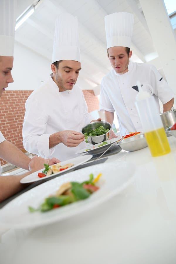 Matlagninggrupp med kocken royaltyfri bild