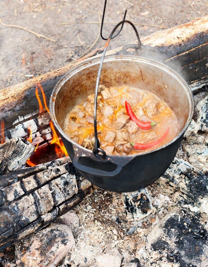Matlagninggulasch på öppen brand royaltyfri bild