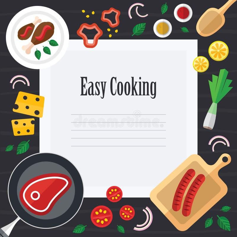 Matlagningillustration med ny mat i en plan design arkivbilder