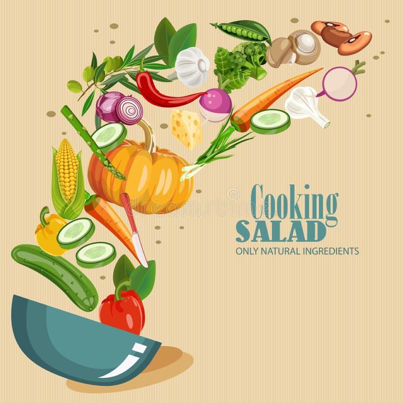 Matlagninginfographics ny sallad Detaljerad vektorsymbol Serie av mat och drink och ingredienser för att laga mat vektor illustrationer