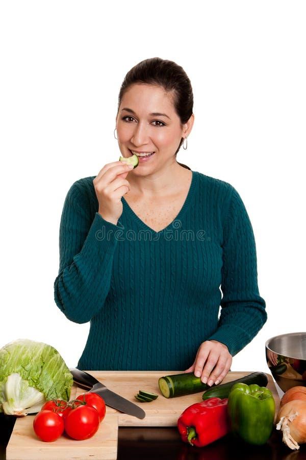 matlagningkökkvinna royaltyfria bilder