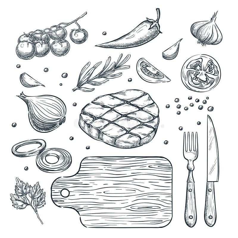 Matlagningköttbiff, skissar illustrationen Restaurang beståndsdelar för stekhusmenydesign vektor illustrationer