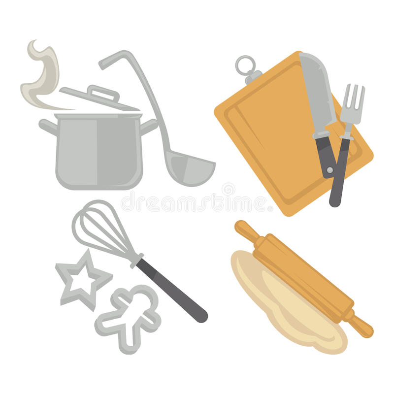 Matlagningkitchenwareredskap och den stekheta bestickvektorn sänker symboler vektor illustrationer