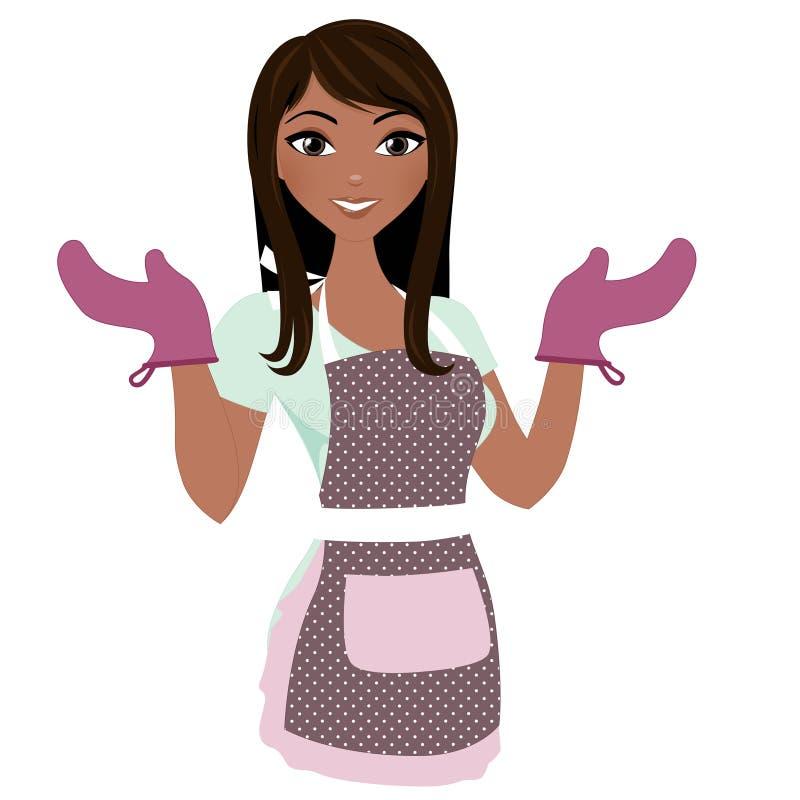 Matlagningkvinna royaltyfri illustrationer
