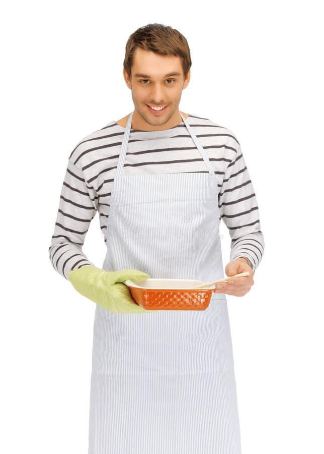Matlagningman över vit arkivfoton