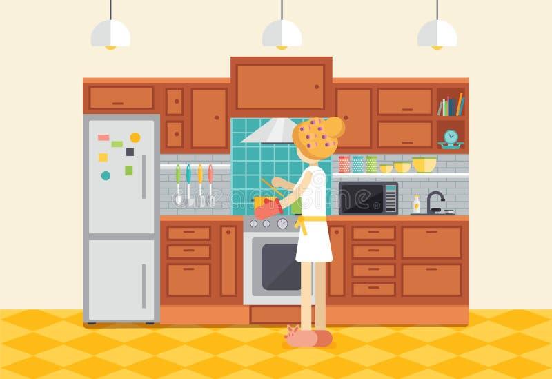 Matlagningmatställe för ung kvinna eller flickai kök Hemmafruprepari stock illustrationer