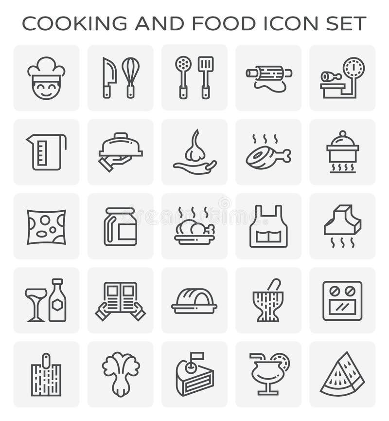 Matlagningmatsymbol stock illustrationer