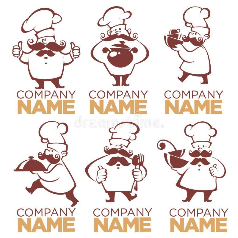 Matlagningsymbol-, mat- och kockkonturer, vektorsamling im royaltyfri illustrationer