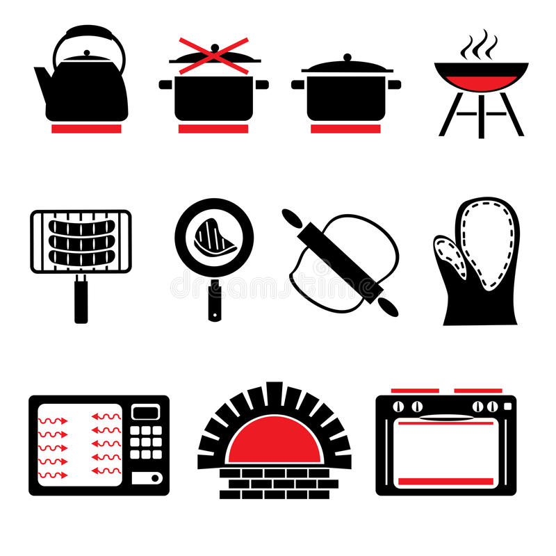 matlagningsymboler stock illustrationer