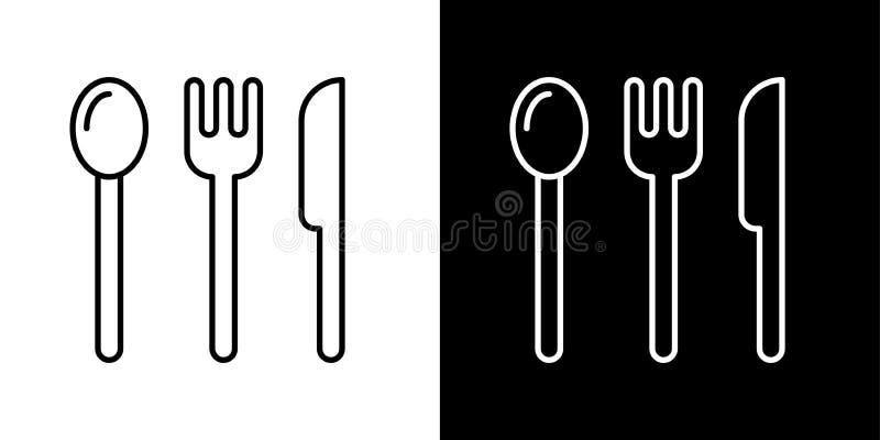 Matlagningsymboler bestick Sked gaffel, knivsymbol vektor illustrationer